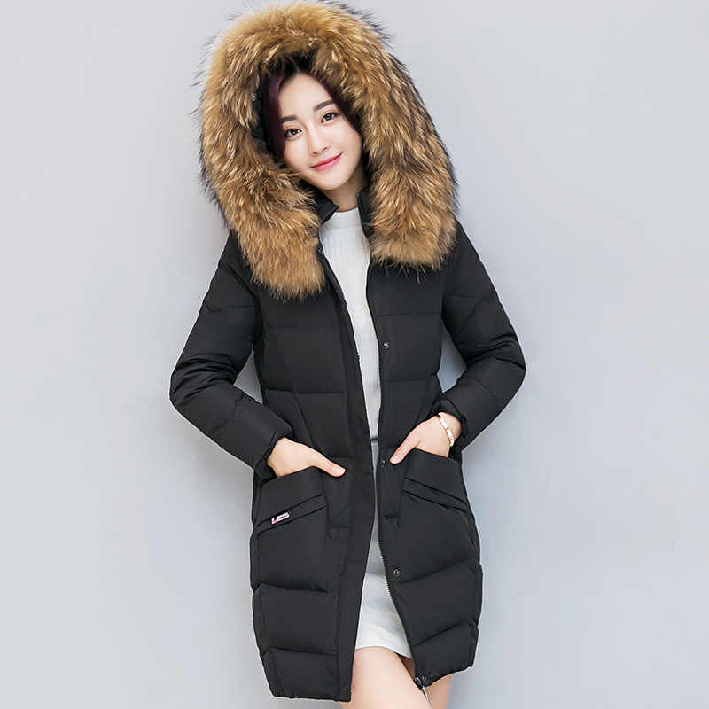 cotton coat female Korean version of the self-cultivation fashion long section large fur collar student down pad cotton jacket