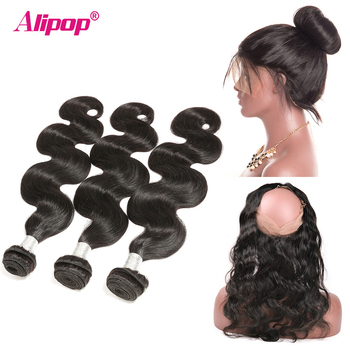 3 Bundles Body Wave With Frontal Peruvian Bundles With Frontal 360 Closure With Bundles Middle/Free/Three Part Alipop Remy Hair image