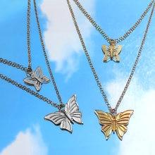 Шикарная двойная подвеска бабочка цепочка милое золотистое серебряное