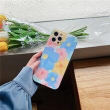 かわいい花の油絵電話ケースiphone 12ミニx xr xs最大7 8プラス11プロマックスse 2020 tpuシリコーンカバーファッションケース