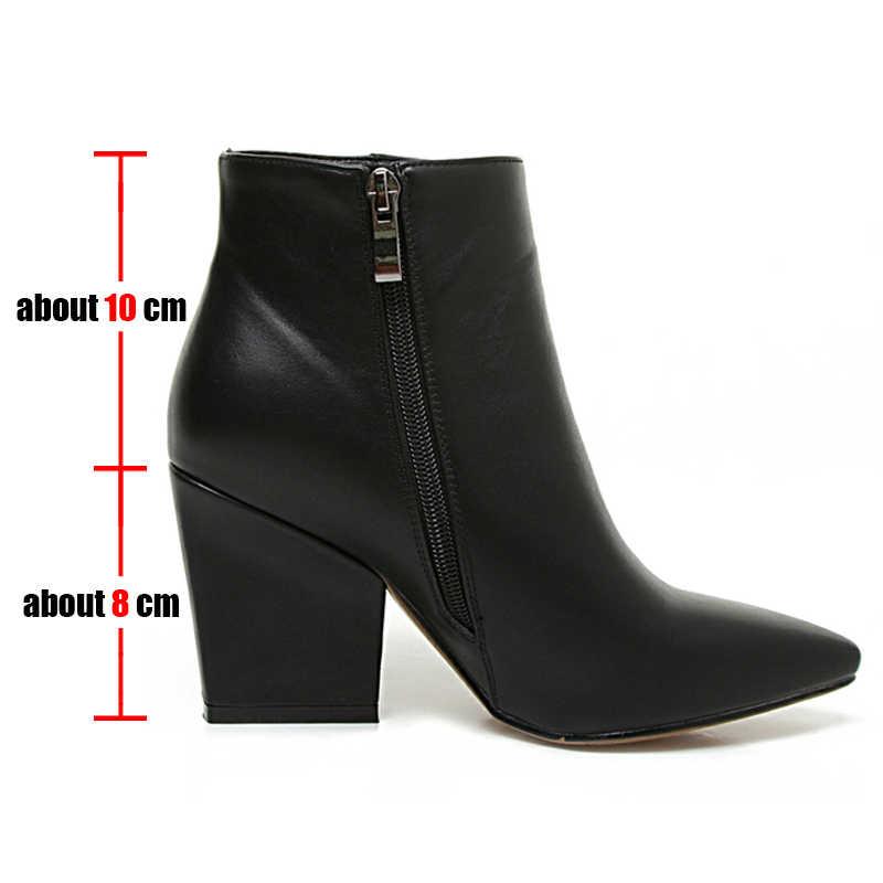 BONJOMARISA boyutu 32-43 kış sivri burun ayak bileği Chelsea çizmeler kadın 2020 olgun siyah OL patik bayanlar yüksek topuklu ayakkabı kadın