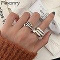 Foxanry минималистский 925 стерлингового серебра Гладкий кольца для женщин Новая мода неправильные геометрические в стиле панк, в стиле