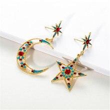 Women Female Vintage Long Big Dangle Drop Earrings Fashion Star Moon Colorful Zircon Metal Earrings Jewelry Wholesale-YR-W17