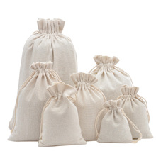 Storage-Bags Linen Drawstring Multifunctional Resuable Cotton Wood-Grain Home 6-Sizes