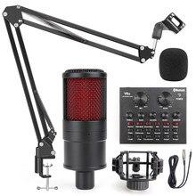 Microphone de studio professionnel à condensateur pour PC, ordinateur, enregistrement, karaoké, alimentation fantôme, carte son, changeur de voix