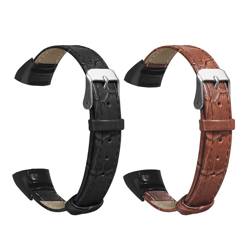 Replacement Wear-resistant Leather Wrist Watch Band Strap For Huawei Honor Band 5/4 Bracelet Accessories Brown, Black