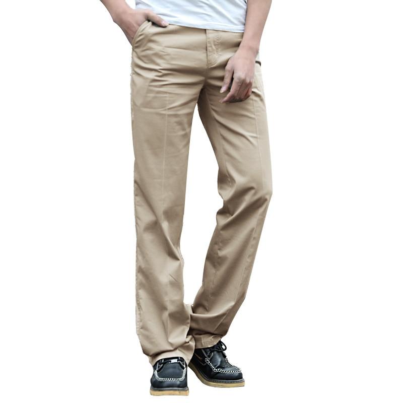 US Big Tall Mens Clothing High Waist Trousers Long Leg Length 120cm Height 200cm Male Work Pants Summer Cotton Mens Khaki Pants