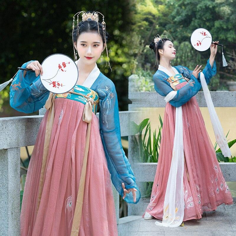 Phoenix Embroidery Hanfu Women Classical Dance Costume Luxury Fairy Dress Folk Festival Outfit Singer Performance Clothes DF1365
