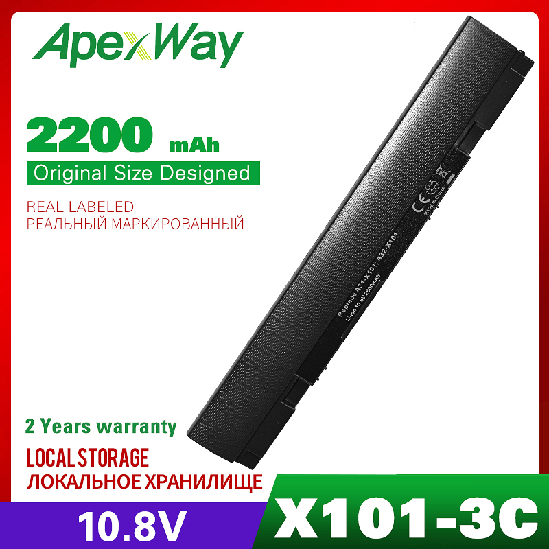 3 Cell New Laptop Battery For ASUS Eee PC X101 X101C X101CH X101H A31-X101 A32-X101 Free Shipping