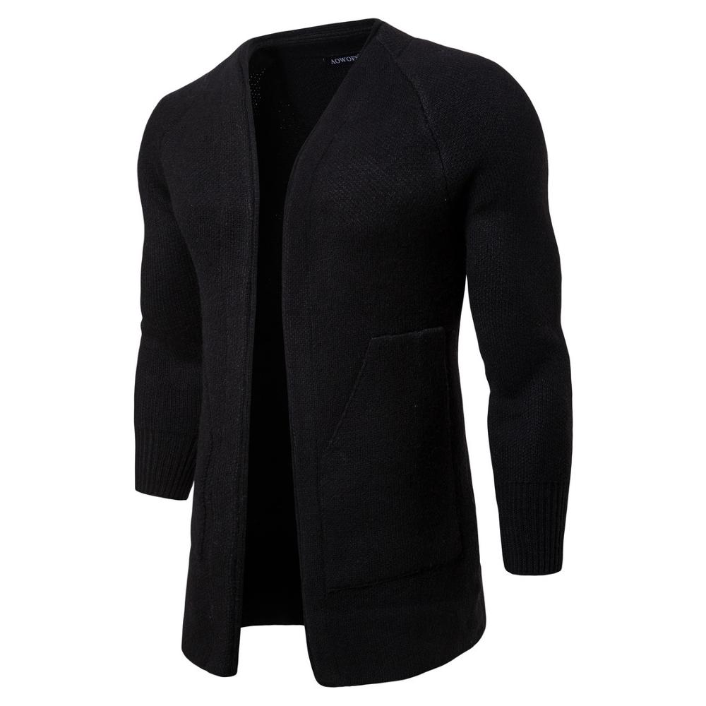 Man Casual Sweater Autumn Warm Solid Black Sweaters Clothes