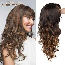 Волосы aisi 26 дюймов волнистый парик с челкой термостойкие