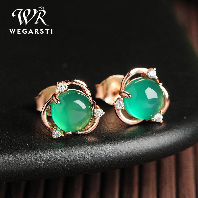 WEGARSTI 925 Sterling Silve Green Chalcedony Stud Earrings Women Fashion Earring Party Fine Jewelry Dropshipping
