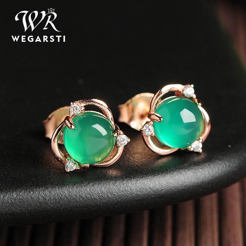 WEGARSTI 925 Sterling Silve Green Chalcedony Stud Earrings Women Fashion Earring Party Fine Jewelry Dropshipping