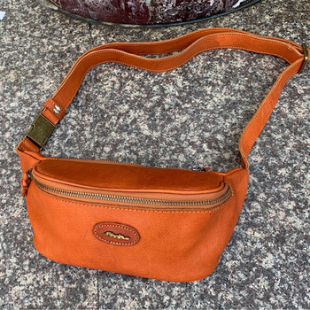Authentic Real Cow Skin Zipper Closure Men's Small Casual Waist Packs Genuine Soft Tanned Leather Male Chest Bag Messenger Bag