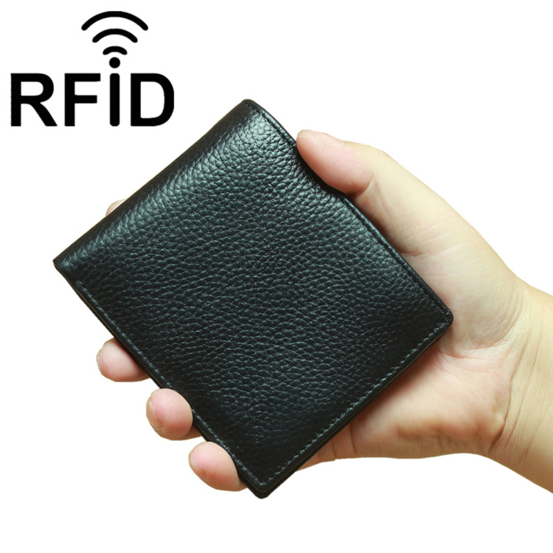 RFID Simple Mini Men Pocket Wallet Genuine Leather Men's Bank ID Credit Card Wallets Man Cowhide Purse