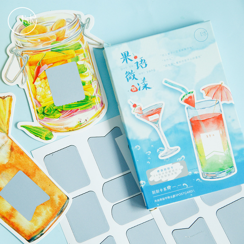 28 Sheets/Set Summer Juice Drink Shape Postcard Greeting Card Birthday Gift Card Message Card Stationery