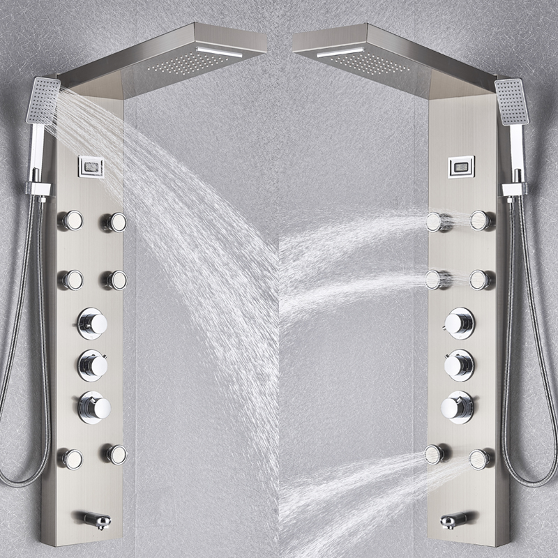 Image 5 - Black/Brushed Nickel Thermostatic Mixer Shower Panel Rainfall Waterfall Massage Jets Shower Column Shower Faucet Shower SetShower Faucets   -