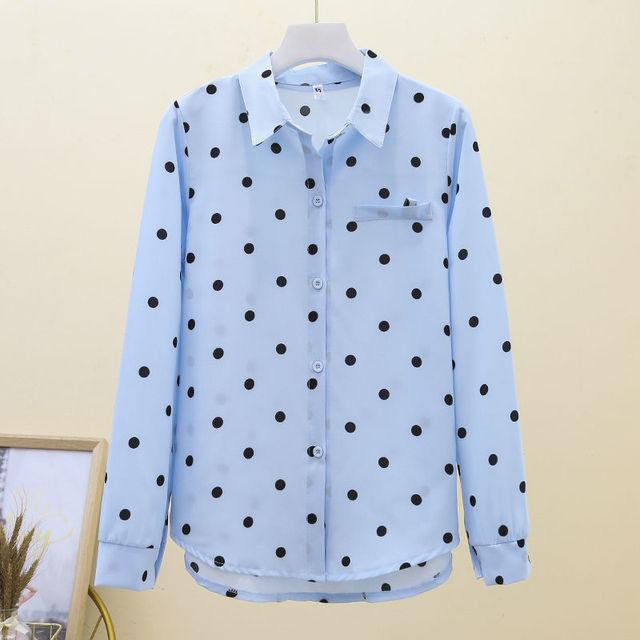 2021 New Summer Vintage Polka Dot Women Blouse Plus Size 4XL Loose Casual White Shirts Elegant Long Sleeve Female Chiffon Tops 4
