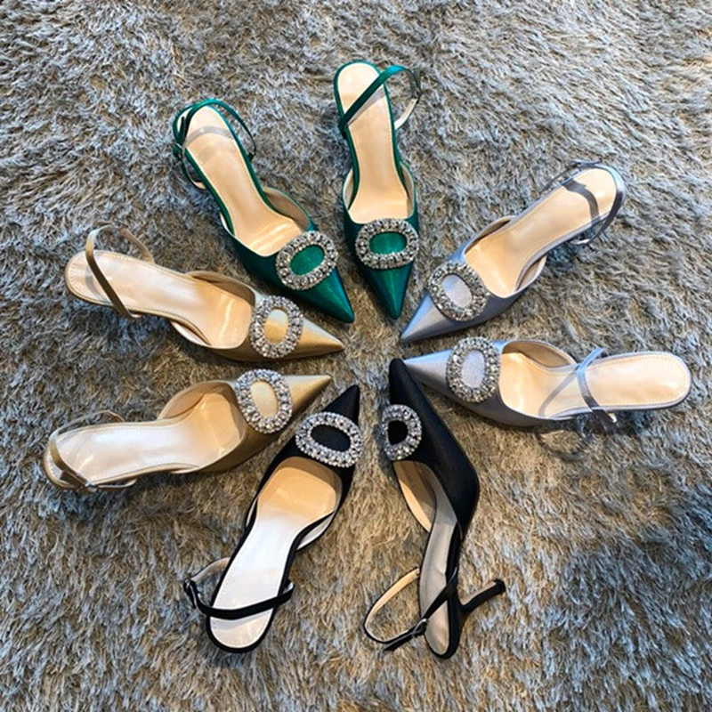 Elegant Rhinestone High Heels Women Pumps Silk Pointed Toe Red Bridal Wedding Shoes Women Buckle Strap Crystal Party Shoes Women