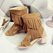 2019 New Fringed Cool Boots Female Middle Heel Boots Short Tube Sandals Female Summer new fashion boots summer cool