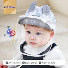 Máscara facial completa proteção para bebês, chapéu de algodão anti-saliva, protetor facial para meninos e meninas, 0-3 anos boné de orelhas