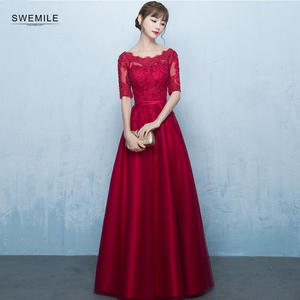 SWEMILE Elegant Red Half Sleeve Evening Dress Long  Sexy Scoop Applique Evening Gown Robe de Soiree