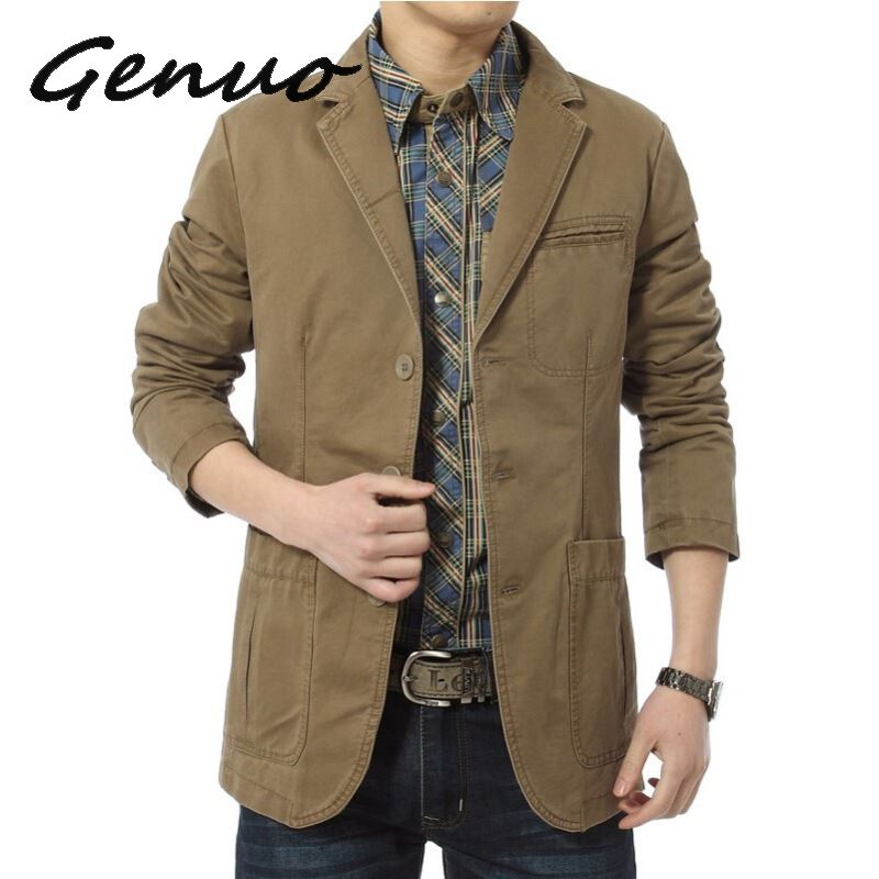 Blazer Men Casual Blazers Cotton Denim Parka Men's Slim Fit Jackets Army Green Khaki Large Size M-XXXL 4XL Outdoors Outwear Coat