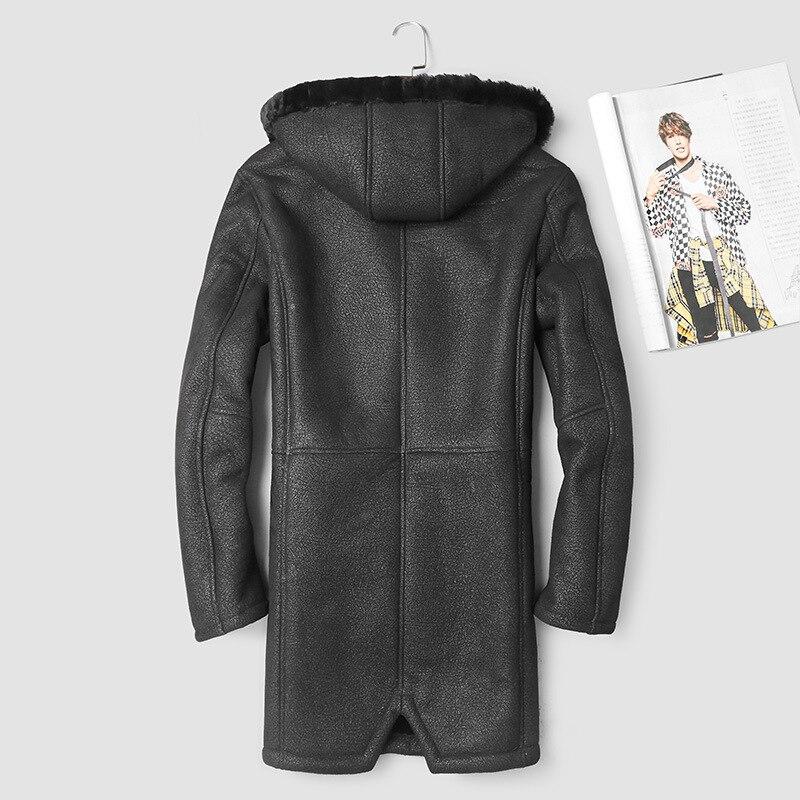 Men's Genuine Leather Jacket Winter Sheep Shearling Jacket Men Hooded Long Real Wool Fur Coat 2020 17025-1 KJ2998