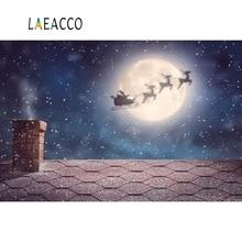 Laeacco Photo Backdrops Christmas Snowflake Santa Clause Rural Chimney Moon Floor Photography Backgrounds Photocall Studio