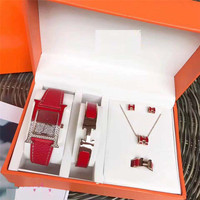 Ladies Watch H Letter Fashion Square Suit Fashion Bracelet Set Fashion Leather belt ultra thin with diamond Gifts