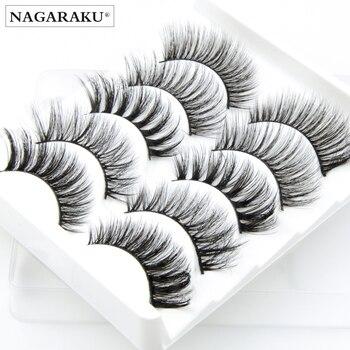 NAGARAKU strip lashes 5 pairs 3D faux Mink False Eyelash Extension Natura Fake Eye Lashes  makeup kit maquiagem