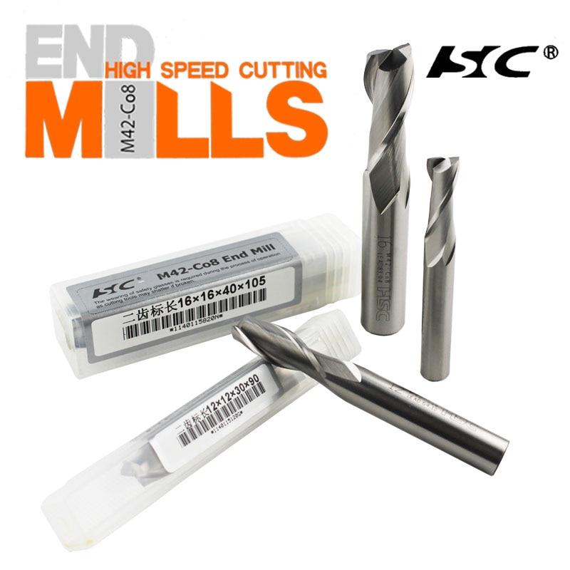 Выплавка HSC Белая сталь M42-CO8 Кобальт фреза 2 лезвия Keyway 2,0-25,0 мм HSC нержавеющая сталь 38 градусов ниже keyway