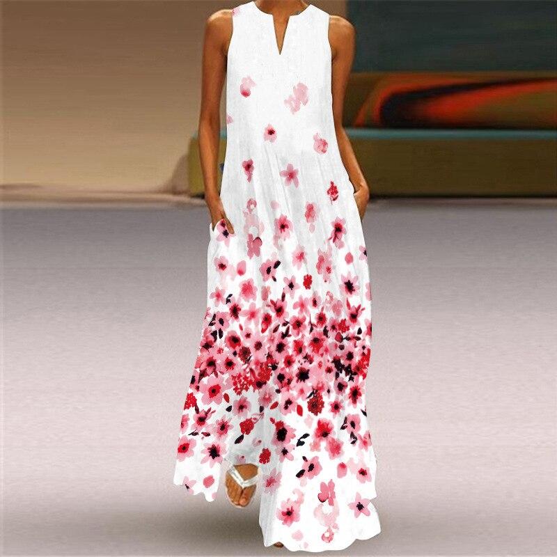 MOVOKAKA 2021 White Long Dress Women Mouth Print Vintage Sleeveless Elegant Dress Casual Plus Size Vestidos Girls Dresses Summer 27