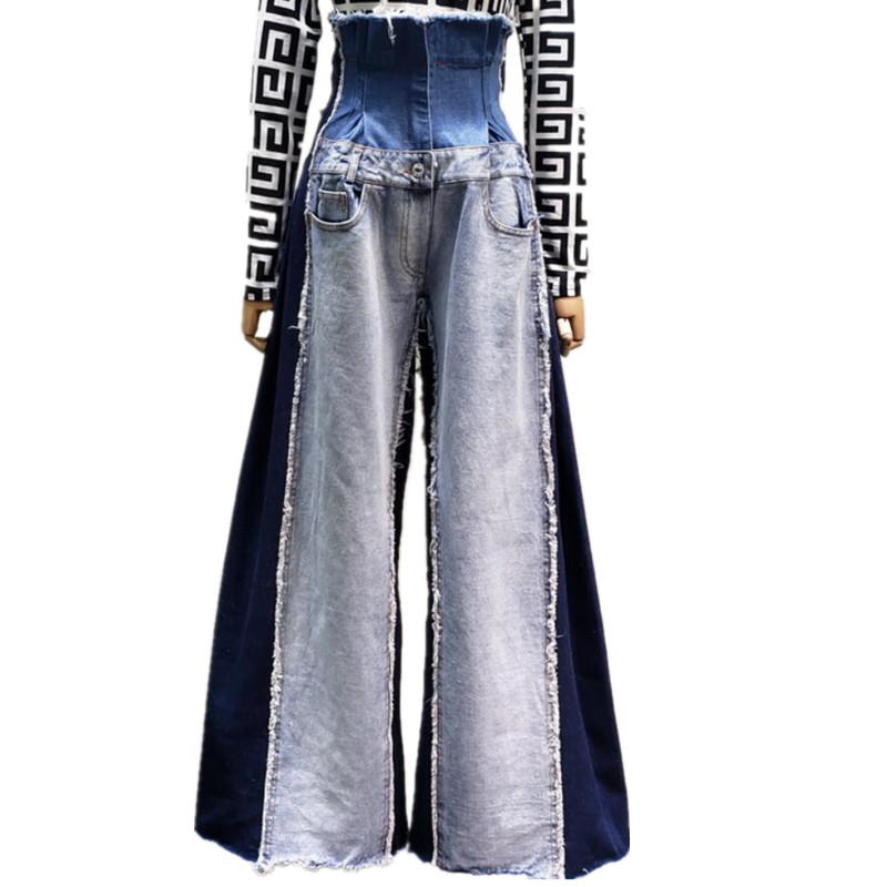 High-waist Contrast Stitching Wide Leg Multi-pocket Flared Jeans Women Spring Autumn Fashion Jeans