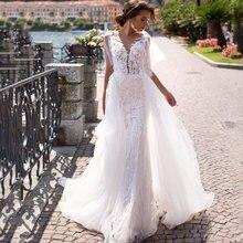 Платье женское свадебное со съемным шлейфом v образным вырезом