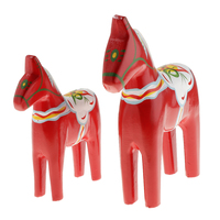 1 paar Vintage Hand-gemalt Holz Dala Pferd Figurine Hochzeit Weihnachten Geschenke