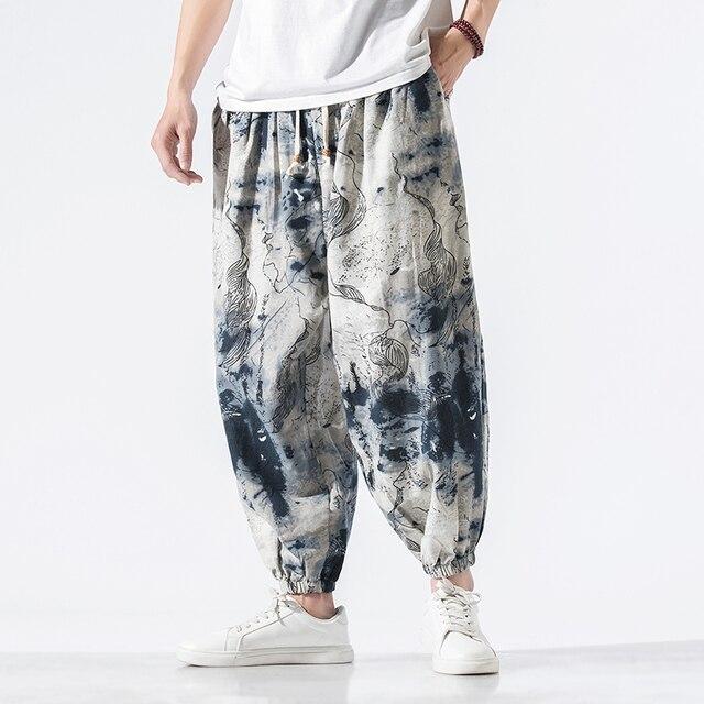 Calças masculinas harem calças joggers estampado com cordão solto-virilha calças masculinas 2020 solto coreano streetwear algodão casual calças masculinas 1