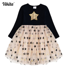 Kids Autumn Winter Dresses for Girls Star Sequins Princess Dress Girls Long Sleeve Party Vestidos Baby Girl Children Clothing цена