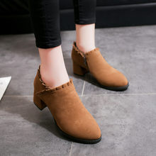 Vintage Flock Ankle Boots for Women 2019 Autumn Winter Ladies Casual Solid Round Toe Martin Short Boots Women botas mujer(China)