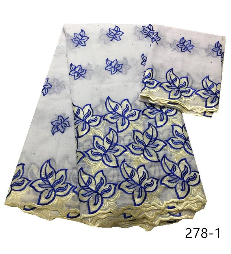 Haute qualité 100% coton dentelle tissu dernière conception suisse Voile plus récent suisse Voile dentelle en suisse pour la fête avec des pierres 278