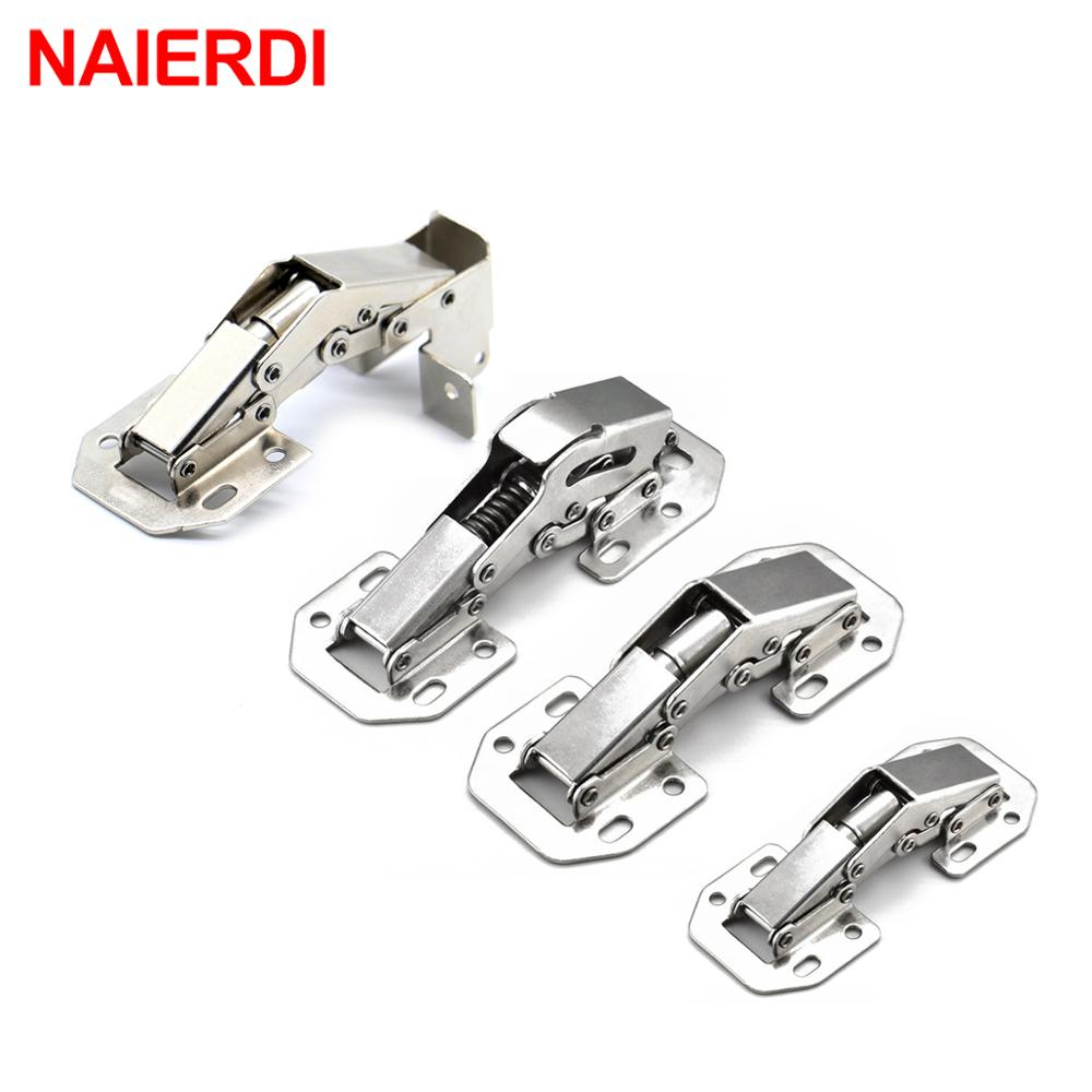 NAIERDI Cabinet Hinge 90 Degree No-Drilling Hole Cupboard Door Hydraulic Hinges Soft Close With Screws Furniture Hardware