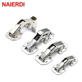NAIERDI Cabinet Hinge 90 Degree No-Drilling Hole Cupboard Door Hydraulic Hinges Soft Close With Screws Furniture Hardware stainless steel no drilling hole cabinet hinge bridge shaped hinge buffer cabinet cupboard door hinges furniture hardware