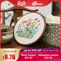 DIY Ribbon Embroidery With Retro Hoop for Beginner Needlework Cross Stitch Kit Handmade Sewing Wall Art Flowers Series
