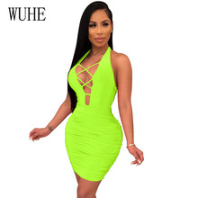 WUHE Women Halter Dress Sleeveless Bandage Backless Dresses 2019 New Arrivals Summer Bodycon Womens Sexy Party Night Club