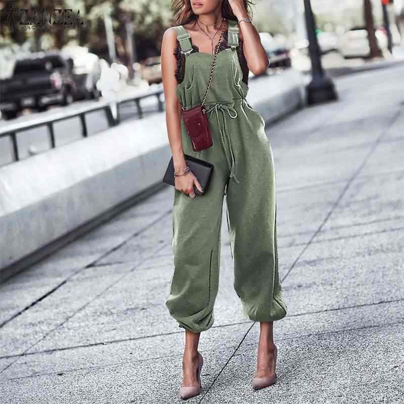 Frauen Lange Overalls Damen Casual Feste Lange Hosen Jeans-hosen-denim-overall-spielanzug-strumpf ZANZEA Frauen Overall Elastische Taille Playsuits Plus Größe 7