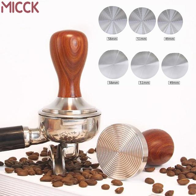 MICCK Kaffee Tamper 49mm/51mm/58mm Quirl Flache Basis Welligkeit Espresso Cafe Barista Werkzeuge Für küche Zubehör Kaffee Drücken-in Kaffeestempel aus Heim und Garten bei