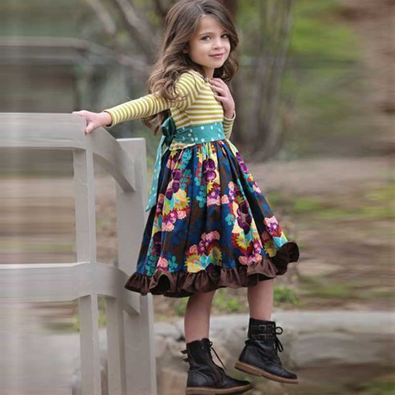 2019 sonbahar yeni kızlar uzun kollu elbise moda çizgili gömlek çiçek etek kalem İngiliz saray rüzgar prenses elbise 4-12 yıl