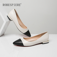 ROBESPIERE Hot Sale Women Casual Flats Quality Genuine Leather Mixed Colors Loafers Shallow Low Heels Large Size Lady Shoes A64