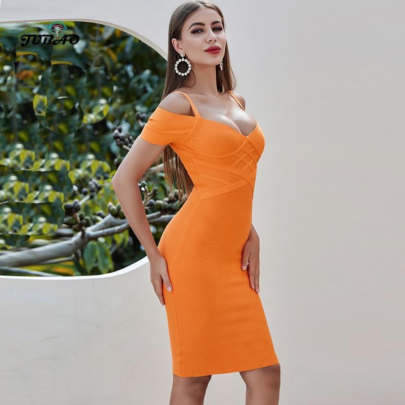 Bandage Knee Length Tube Dress Orange Deep V Neck Tight Short Sleeve Formal Dinner Dress Women Elegant Party Summer Fashion 2020