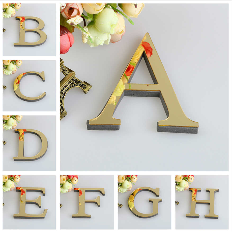 Room Home Decor Decals Acrylic Wall Sticker 1Pcs 3D Mirror Letters DIY Art Mural